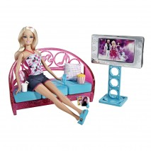 Barbie Movies To Munchies! Living Room + Doll